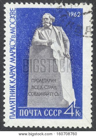 MOSCOW RUSSIA - CIRCA NOVEMBER 2016: a post stamp printed in the USSR shows the Monument of Karl Marx in Moscow circa 1962