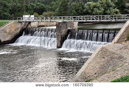 sluice and river Svratka, Moravia, Czech Republic, Europe
