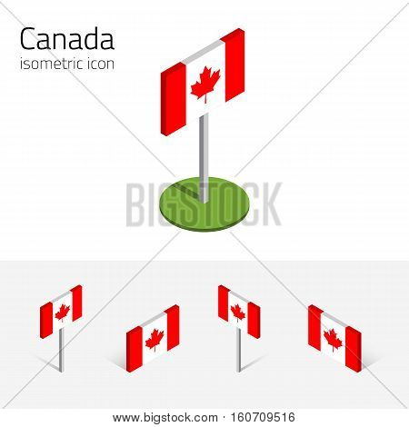 Canadian flag vector set of isometric flat icons 3D style different views. 100% editable design elements for banner website presentation infographic poster map collage. Eps 10
