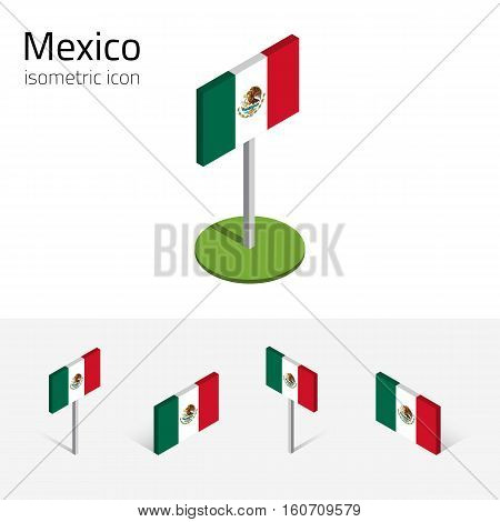 Mexico flag (United Mexican States) vector set of isometric flat icons 3D style different views. Editable design elements for banner website presentation infographic poster map. Eps 10