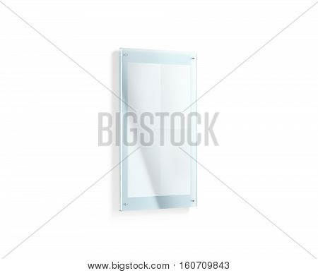 Blank white folded poster mockup under the acrylic holder 3d rendering. Glass sign plate holding clear affiche mock up. Paper canvas in transparent frame template isolated. Vertical A3 print placard. poster