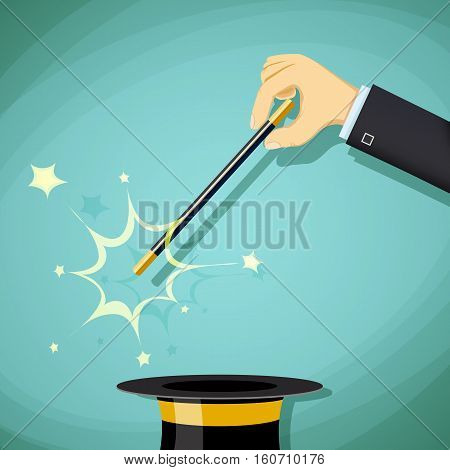 Magic wand and hat. Focus and illusion. Legerdemain and tricks. Stock Vector cartoon illustration.