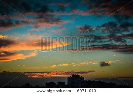 Time Lapse Of Sun Setting Over Skyline  Kyiv