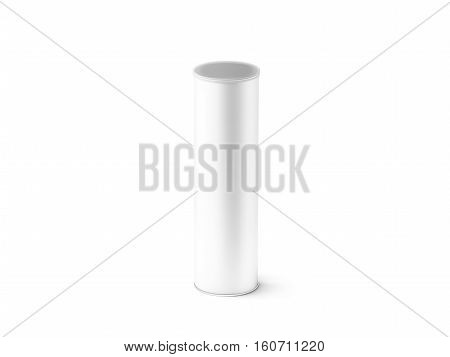 Blank white carton cylinder box mockup isolated 3d rendering. Clear cylindrical tube container transparent plastic lid mock up. Chips and crisp cardboard packaging template. Paper tin round canister poster