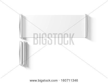 Blank white hand held banner mockup isolated 3d rendernig. Clear closed and opened retractable roll up mock up. Plain promotional retractable scroll. Rolling sign for sport club branding