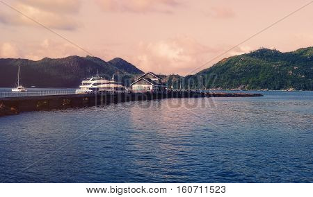 Tropical Seychelles. Large ships and boats on La Digue