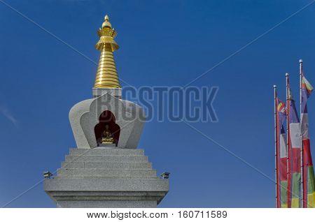Closeup view of  Buddhist stupa Sofia in the Retreat Center Plana - Diamondway Buddhism Bulgaria near by Vitosha, Rila, Pirin, and Balkan mountains