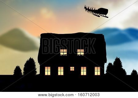 Reindeer pulling empty sleigh with gifts during Christmas against digitally generated snowy land scape