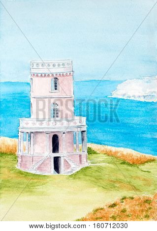 Painting of the Clavell Tower at a UNESCO world heritage site in the UK