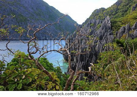 Landscape with rocks. El Nido, Palawan island Philippines