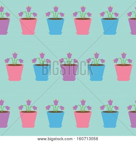 Bellflower flower set in pot. Seamless Pattern Wrapping paper textile template. Blue background. Flat design. Vector illustration.