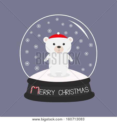 Arctic polar baby bear cub in red santa hat. Cute cartoon character. Crystal ball with snow. Merry Christmas card Candy cane text. Flat design Violet background. Vector illustration
