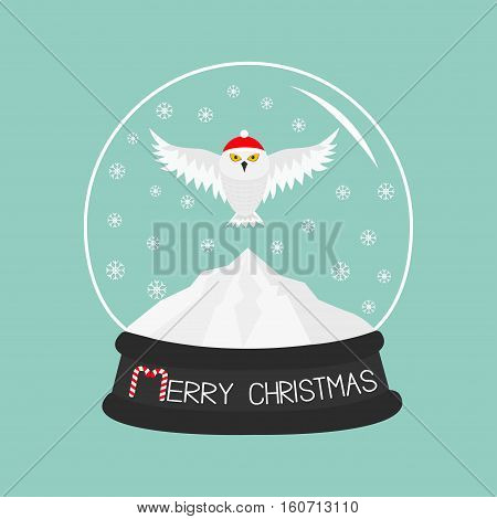 Snowy white owl Red Santa hat. Flying bird Big wings. Yellow eyes. Arctic Polar animal collection. Crystal ball with snow. Merry Christmas card Candy cane text. Flat design Blue background. Vector