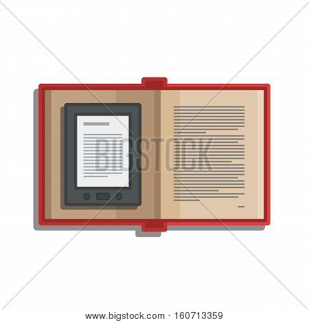 Tablet computer book for reading. Modern device with cloud technology. Mobile education concept. Electronic mobile book with paper book. Flat style vector isolated icon illustration.
