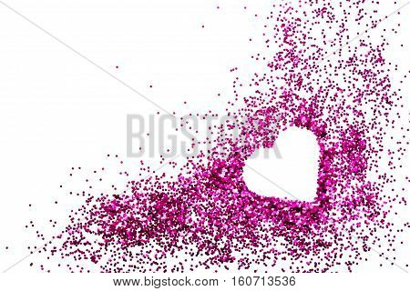 Heart on pink glitter for makeup isolated on white background space for text
