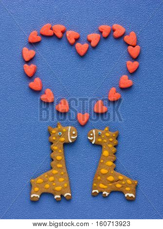 Funny homemade cookies in the form of couple giraffes and big heart holiday card on Valentine's Day