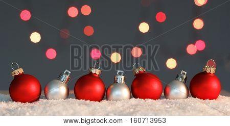 Christmas background. Many colorful Christmas balls background decoration lights
