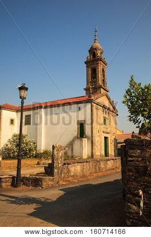 View of the Santa Eulalia church O Pedrouzo Spain