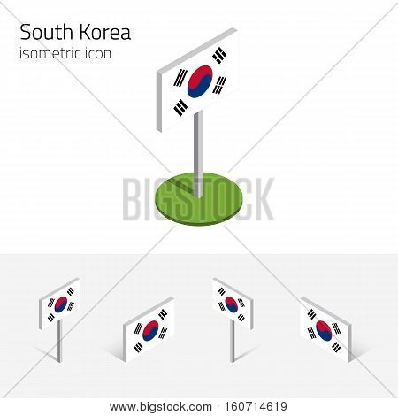 Flag of South Korea (Republic of Korea) vector set of isometric flat icons 3D style different views. Editable design elements for banner website presentation infographic poster map. Eps 10