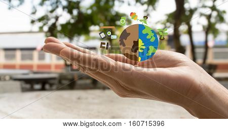 Save earth concept , save earth in hand