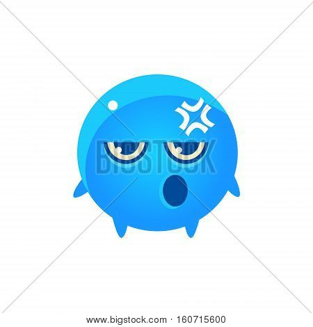 Embarrassed Round Character Emoji. Cute Emoticon In Cartoon Childish Style Isolated On White Background.