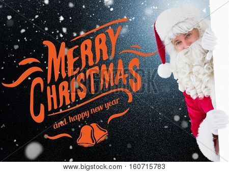 Portrait of santa claus peeking against digitally generated christmas background