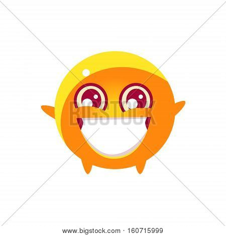 Extatic Round Character Emoji. Cute Emoticon In Cartoon Childish Style Isolated On White Background.
