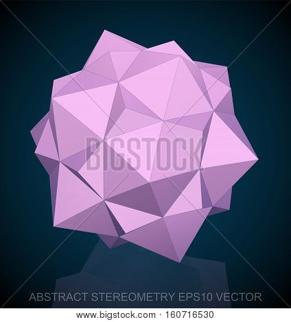 Abstract geometry: low poly Pink Dodecahedron. 3D polygonal object, EPS 10, vector illustration.