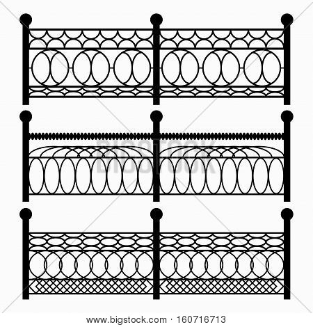 fences isolated black symbols vector royalty free stock illustration