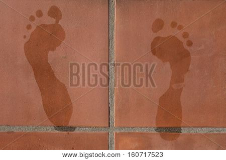 wet footprints on terracotta tiles - footmarks