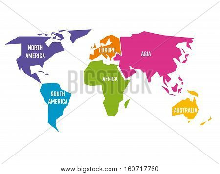 Simplified world map divided to six continents - South America, North America, Africa, Europe, Asia and Australia - in different colors, on white background and with white lables. Simple flat vector illustration.