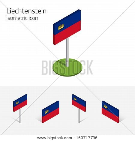 Liechtenstein flag (Principality of Liechtenstein) vector set of isometric flat icons 3D style different views. Editable design elements for banner website presentation infographic poster map