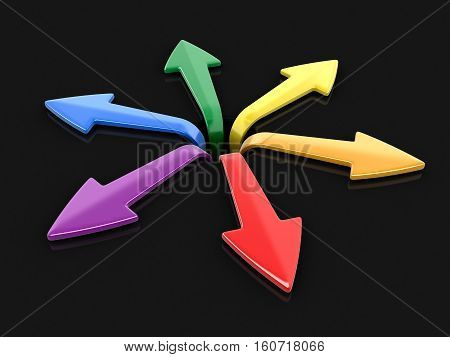 3D Illustration. 3d image of arrows in different directions. Image with clipping path