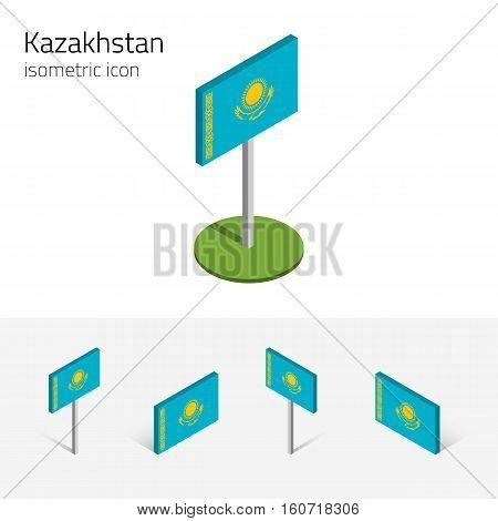Kazakh flag (Republic of Kazakhstan) vector set of isometric flat icons 3D style different views. 100% editable design elements for banner website presentation infographic poster map. Eps 10