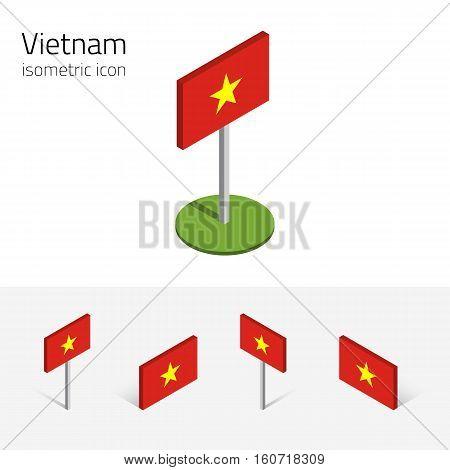 Vietnamese flag (Socialist Republic of Vietnam (SRV) vector set of isometric flat icons 3D style. Editable design elements for banner website presentation infographic poster map. Eps 10