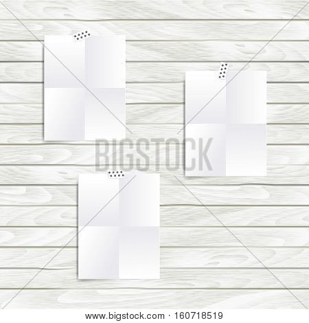 Vector white Note paper folded in four set on the wooden wall. Hipster mood board template. Mock up.