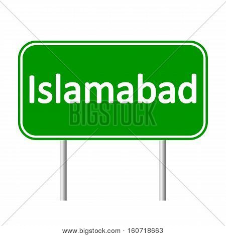 Islamabad road sign isolated on white background.