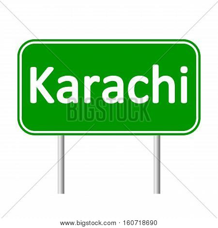 Karachi road sign isolated on white background.