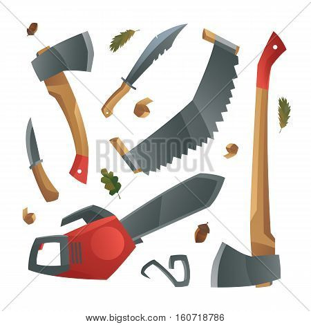 Vector illustration with set of different hand tools include axe saw chainsaw knife. Lumberjack tools. Modern cartoon style.