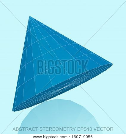 Abstract stereometry: low poly Blue Cone. 3D polygonal object, EPS 10, vector illustration.