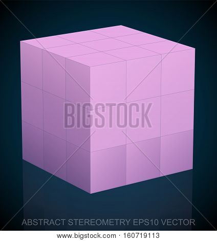 Abstract stereometry: low poly Pink Cube. 3D polygonal object, EPS 10, vector illustration.