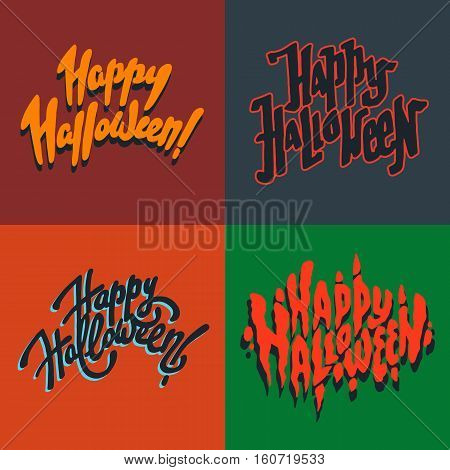 Vector illustration set of halloween postcards. Creepy happy halloween postcards. Autumn holiday postcard. Season holiday. Hand drawn lettering with text happy halloween.