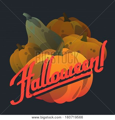 Vector illustration halloween postcard. Halloween postcard with colorful pumpkins. Modern postcard cartoon style. Autumn holiday postcard. Season harvest orange vegetable. Hand drawn lettering.