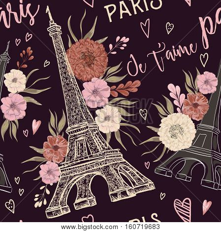 Paris. Vintage seamless pattern with Eiffel Tower, hearts and floral elements in watercolor style. Retro hand drawn vector illustration. (Translation: Paris I love you)