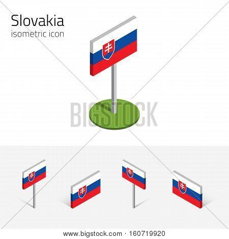 Slovakia flag (Slovak Republic) vector set of isometric flat icons 3D style different views. Editable design elements for banner website presentation infographic poster collage map. Eps 10