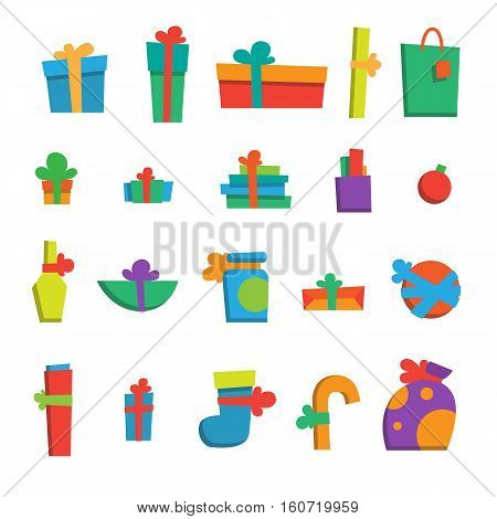 Vector illustration. Set of happy new year gifts and presents. Merry christmas gifts. Xmas set of colorful presents. Modern flat style. For your design banner poster gift card.