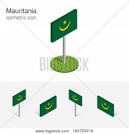 Mauritanian flag (Islamic Republic of Mauritania) vector set of isometric flat icons 3D style different views. Editable design elements for banner website presentation infographic poster map
