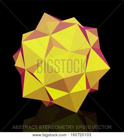 Abstract geometry: low poly Yellow Dodecahedron. 3D polygonal object, EPS 10, vector illustration.