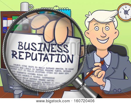Business Reputation. Business Man Showing Paper with Text through Magnifier. Multicolor Doodle Style Illustration.