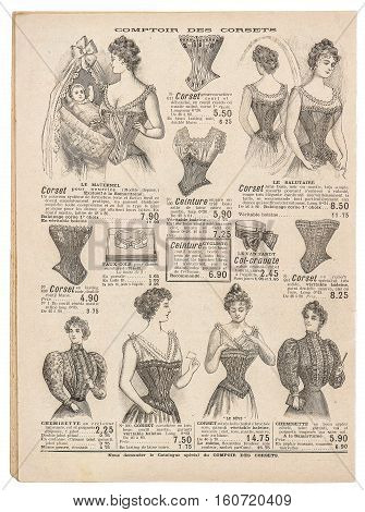 Vintage corset. Antique engraved picture. Antique fashion shop advertising page of original shopping catalog La Samaritaine Paris France circa 1897
